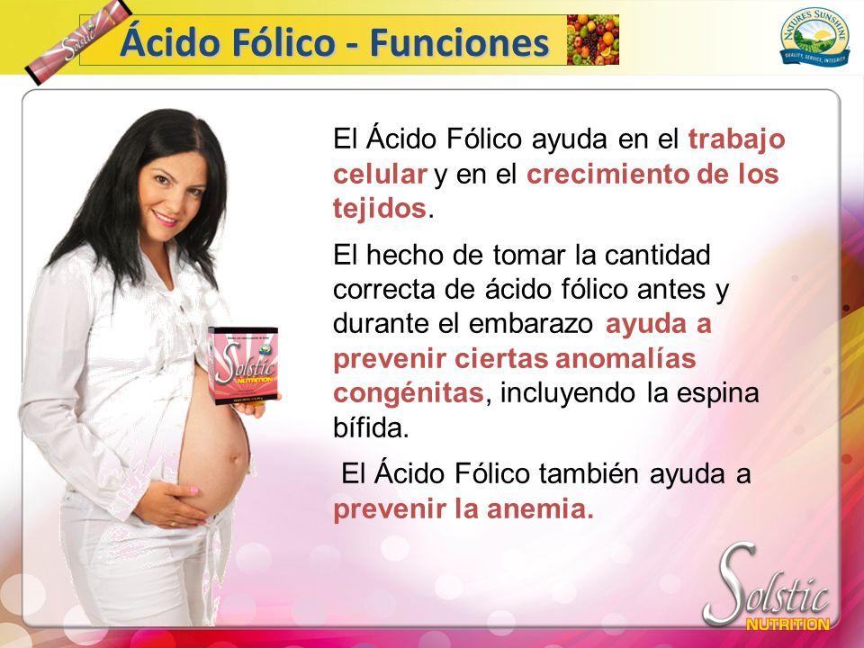 El Ácido Fólico ayuda en el trabajo celular y en el crecimiento de los tejidos. El hecho de tomar la cantidad correcta de ácido fólico antes y durante