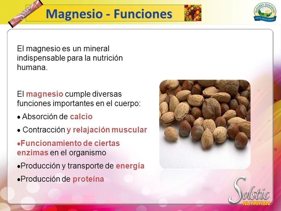 El magnesio es un mineral indispensable para la nutrición humana. El magnesio cumple diversas funciones importantes en el cuerpo: Absorción de calcio