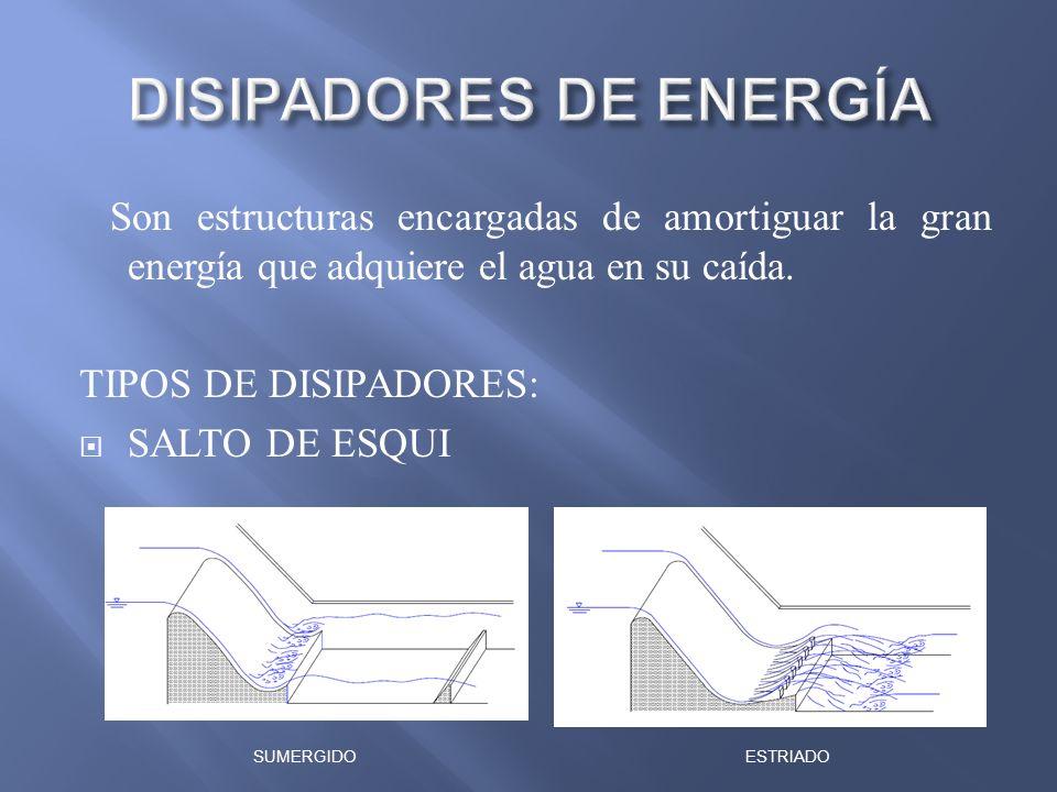Son estructuras encargadas de amortiguar la gran energía que adquiere el agua en su caída. TIPOS DE DISIPADORES: SALTO DE ESQUI SUMERGIDOESTRIADO