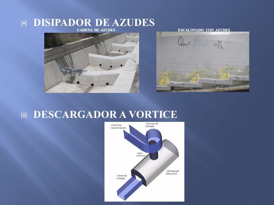 DISIPADOR DE AZUDES DESCARGADOR A VORTICE CADENA DE AZUDESESCALONADO CON AZUDES