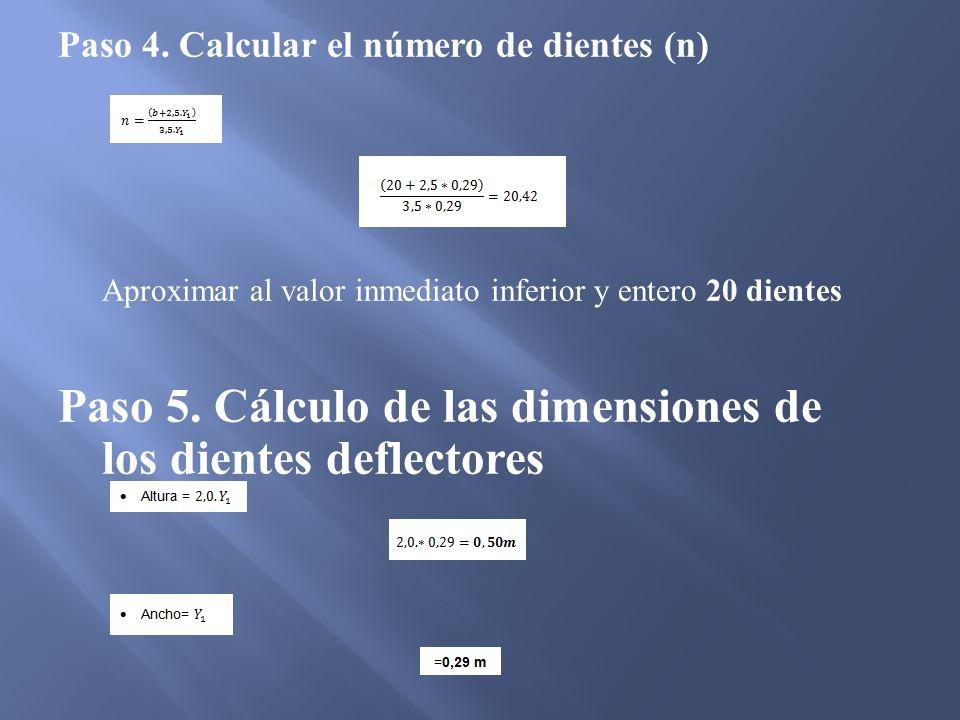 Paso 4. Calcular el número de dientes (n) Aproximar al valor inmediato inferior y entero 20 dientes Paso 5. Cálculo de las dimensiones de los dientes