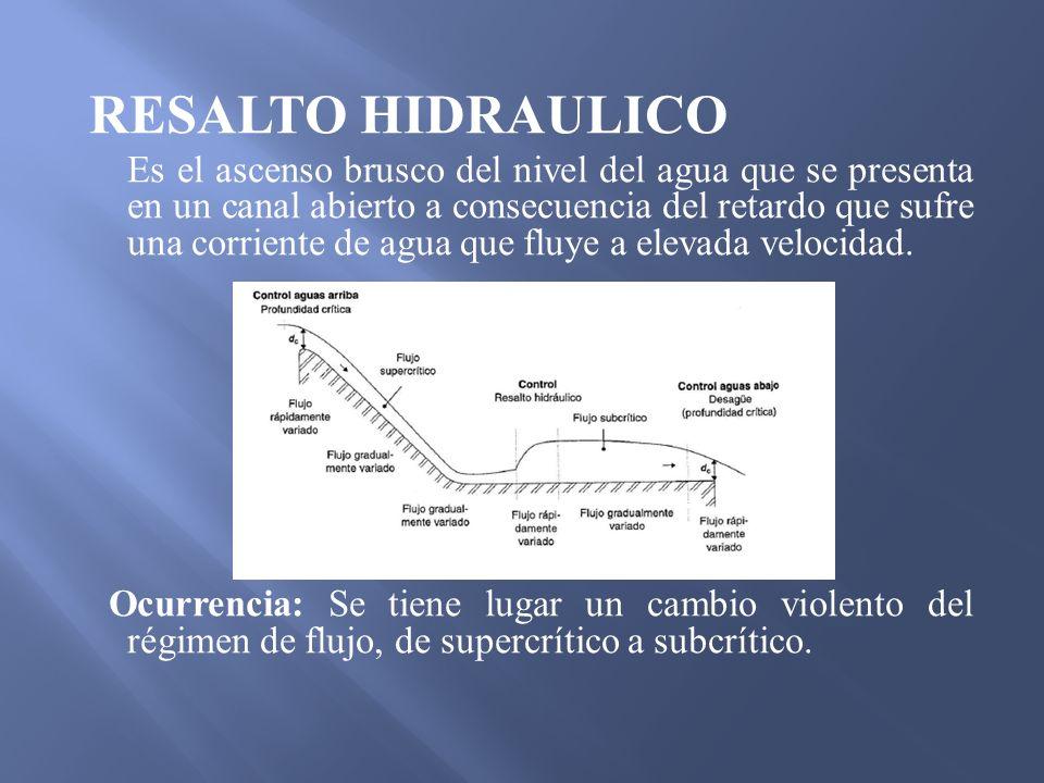 RESALTO HIDRAULICO Es el ascenso brusco del nivel del agua que se presenta en un canal abierto a consecuencia del retardo que sufre una corriente de a