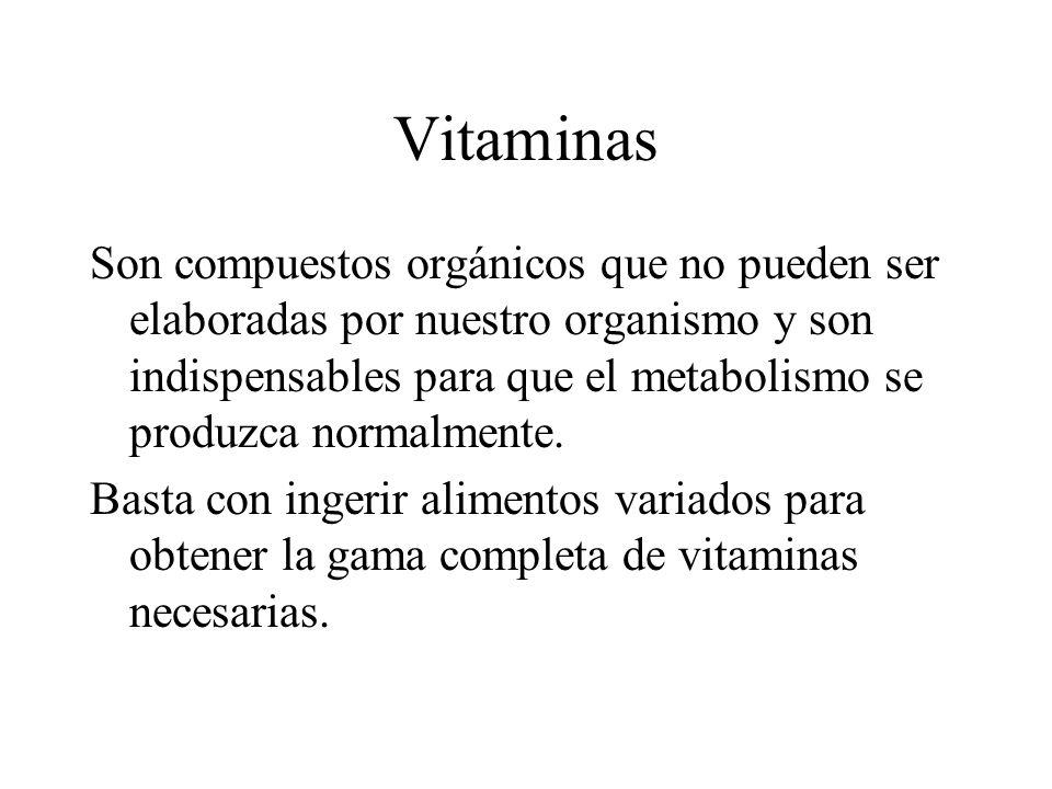 Vitaminas Son compuestos orgánicos que no pueden ser elaboradas por nuestro organismo y son indispensables para que el metabolismo se produzca normalm