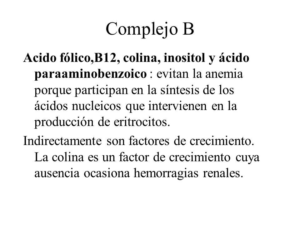 Complejo B Acido fólico,B12, colina, inositol y ácido paraaminobenzoico : evitan la anemia porque participan en la síntesis de los ácidos nucleicos qu
