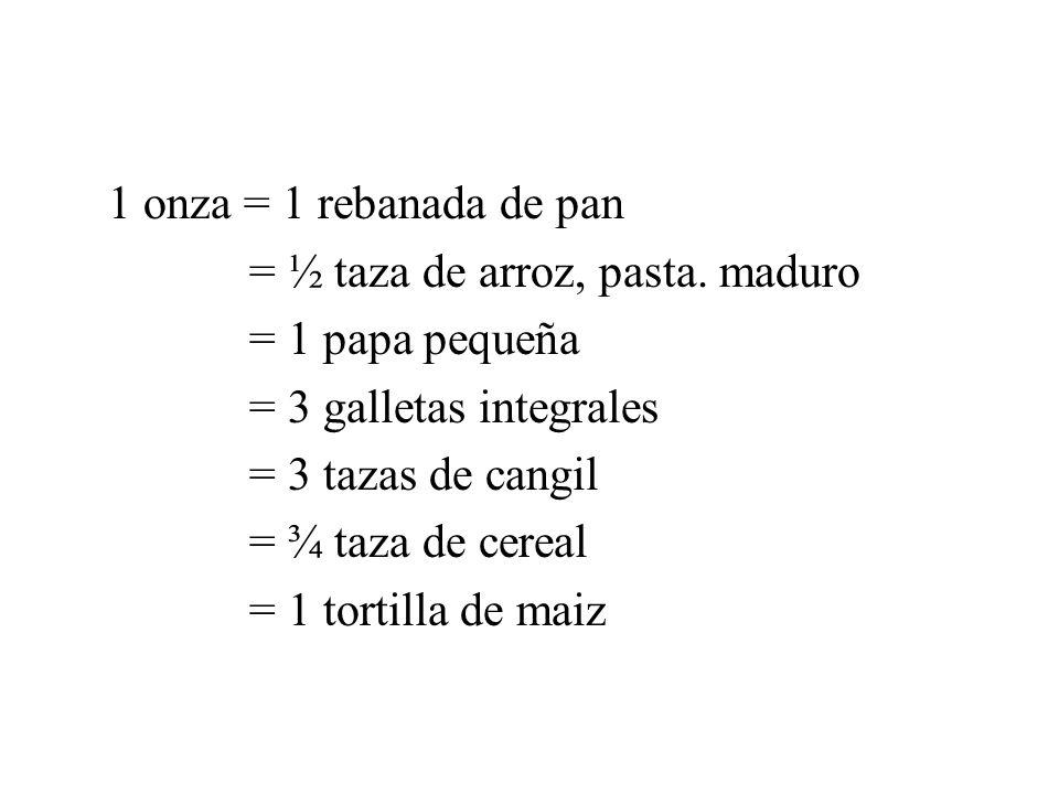 1 onza = 1 rebanada de pan = ½ taza de arroz, pasta. maduro = 1 papa pequeña = 3 galletas integrales = 3 tazas de cangil = ¾ taza de cereal = 1 tortil