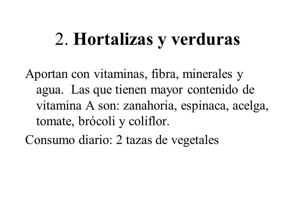 2. Hortalizas y verduras Aportan con vitaminas, fibra, minerales y agua. Las que tienen mayor contenido de vitamina A son: zanahoria, espinaca, acelga