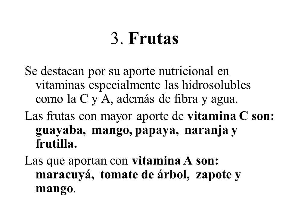 3. Frutas Se destacan por su aporte nutricional en vitaminas especialmente las hidrosolubles como la C y A, además de fibra y agua. Las frutas con may