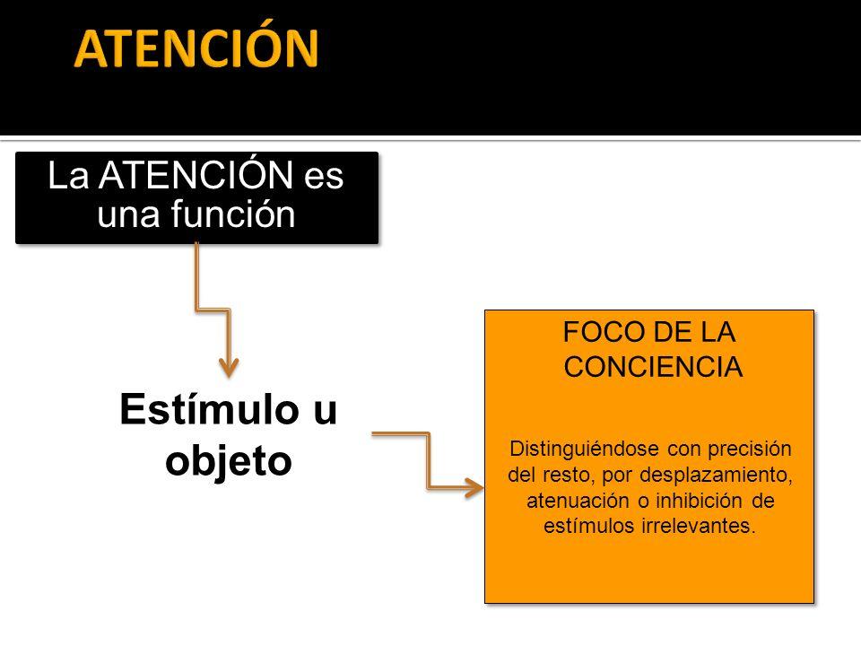 Estímulo u objeto La ATENCIÓN es una función FOCO DE LA CONCIENCIA FOCO DE LA CONCIENCIA Distinguiéndose con precisión del resto, por desplazamiento,