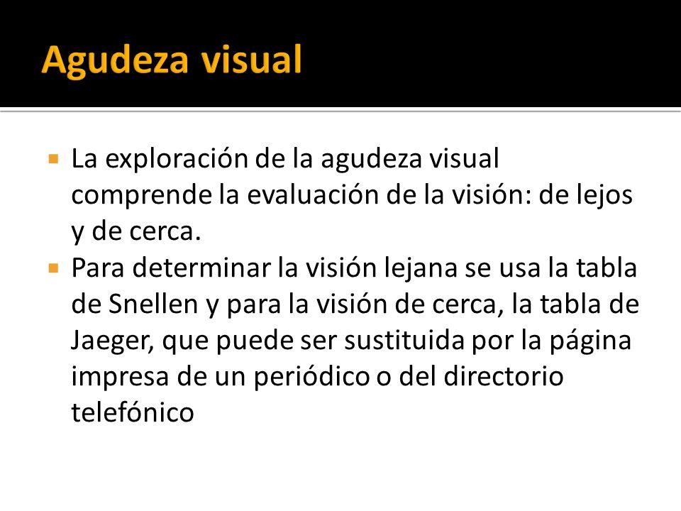 La exploración de la agudeza visual comprende la evaluación de la visión: de lejos y de cerca. Para determinar la visión lejana se usa la tabla de Sne