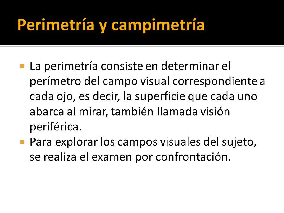 La perimetría consiste en determinar el perímetro del campo visual correspondiente a cada ojo, es decir, la superficie que cada uno abarca al mirar, t