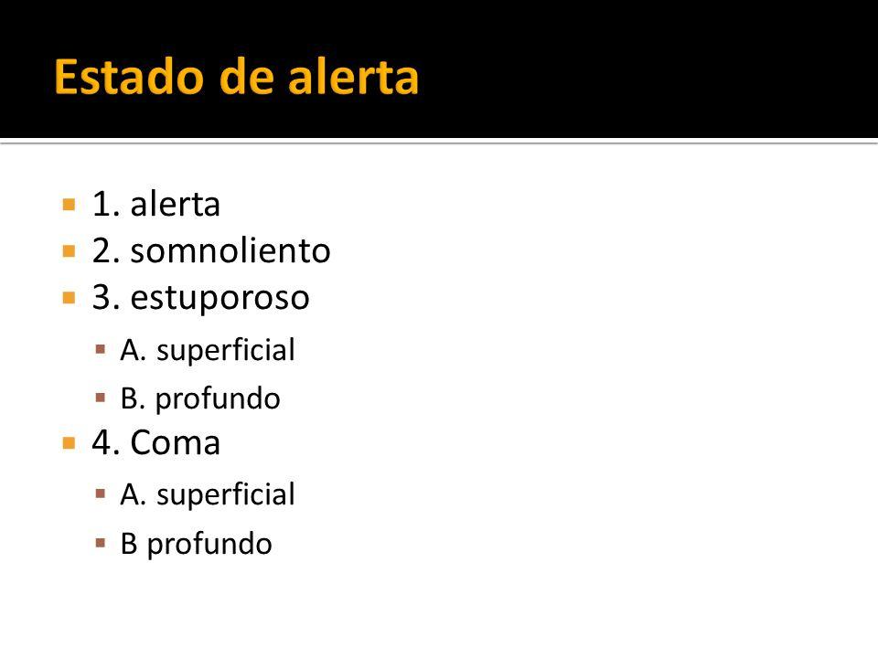 1. alerta 2. somnoliento 3. estuporoso A. superficial B. profundo 4. Coma A. superficial B profundo