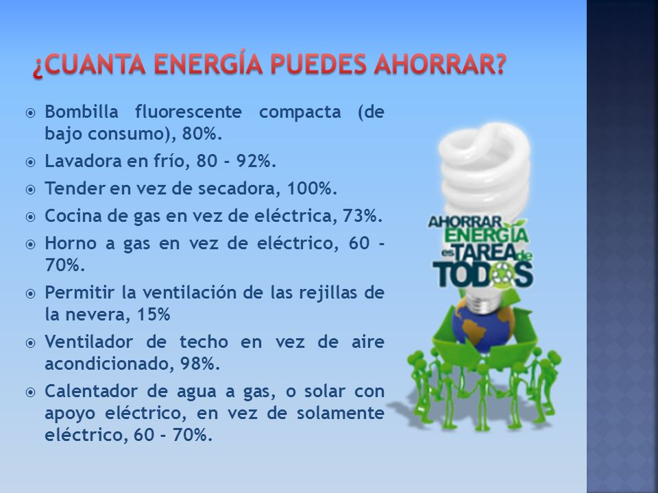 Bombilla fluorescente compacta (de bajo consumo), 80%. Lavadora en frío, 80 - 92%. Tender en vez de secadora, 100%. Cocina de gas en vez de eléctrica,