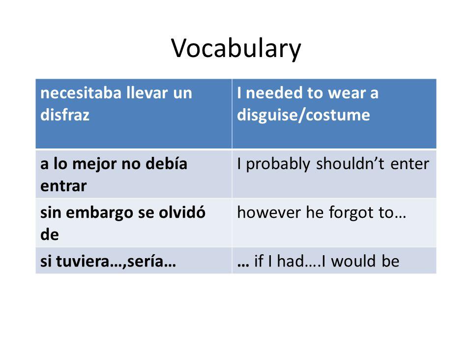 Vocabulary necesitaba llevar un disfraz I needed to wear a disguise/costume a lo mejor no debía entrar I probably shouldnt enter sin embargo se olvidó