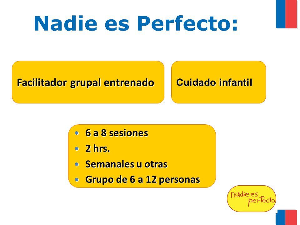 Nadie es Perfecto: Facilitador grupal entrenado Cuidado infantil 6 a 8 sesiones 6 a 8 sesiones 2 hrs.