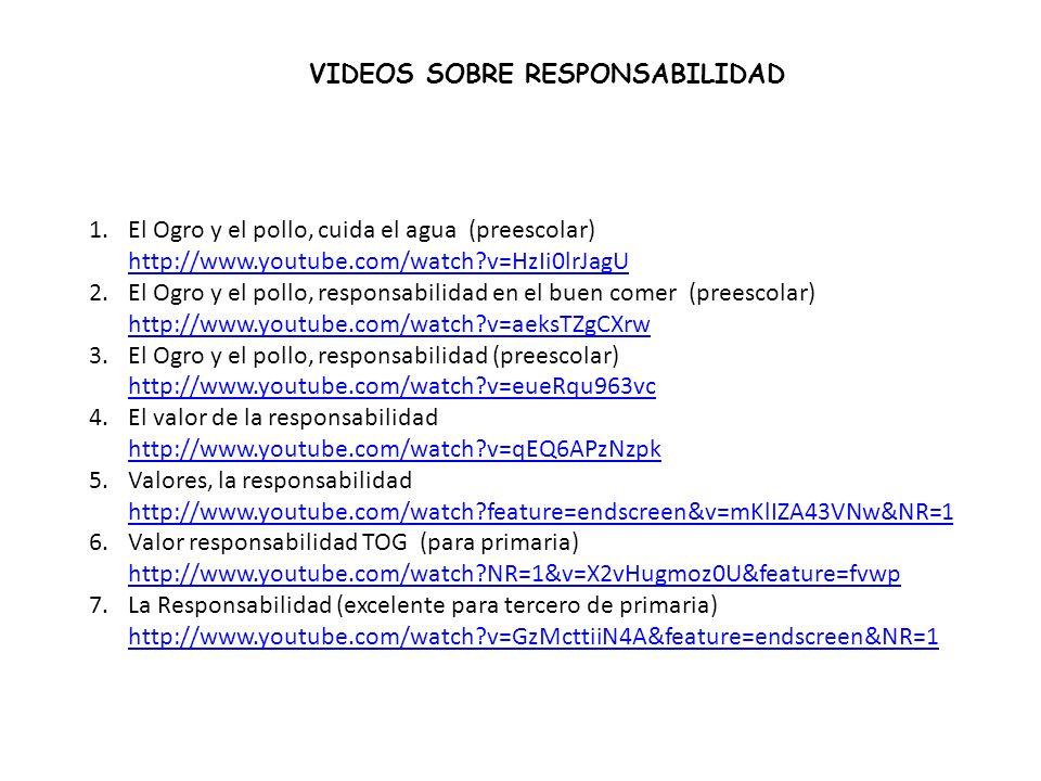 VIDEOS SOBRE RESPONSABILIDAD 1.El Ogro y el pollo, cuida el agua (preescolar) http://www.youtube.com/watch?v=HzIi0lrJagU http://www.youtube.com/watch?