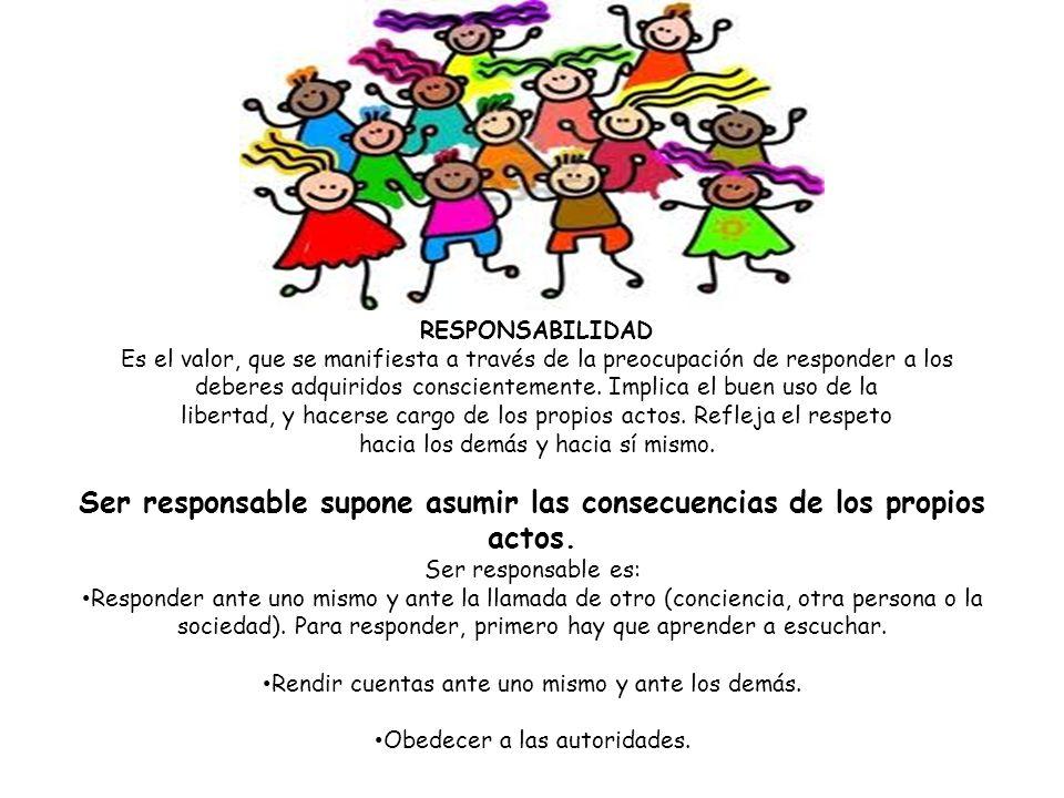Ser responsable supone asumir las consecuencias de los propios actos. Ser responsable es: Responder ante uno mismo y ante la llamada de otro (concienc