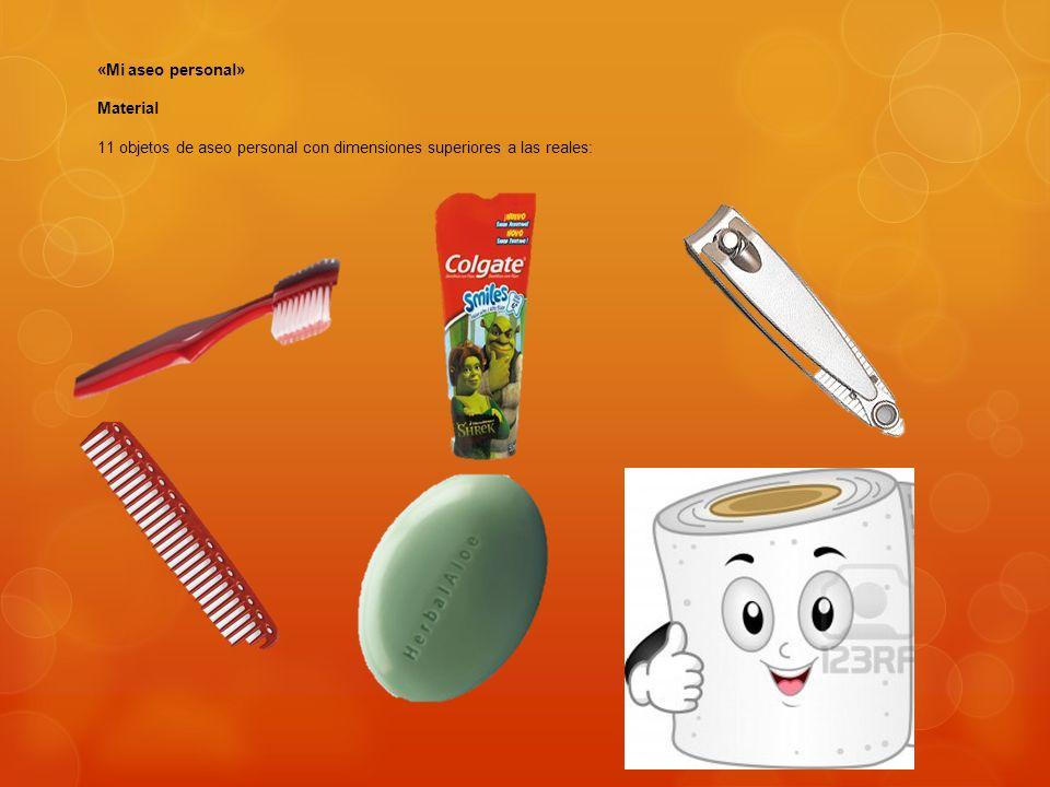 «Mi aseo personal» Material 11 objetos de aseo personal con dimensiones superiores a las reales: