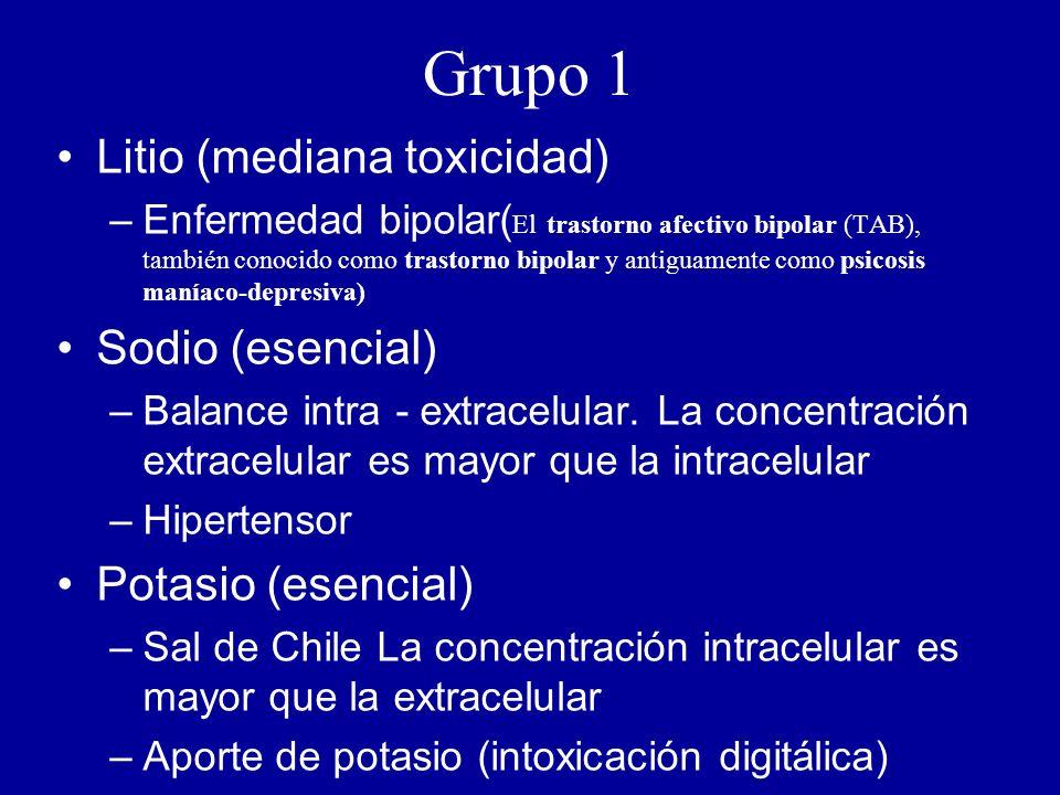 Grupo 1 Litio (mediana toxicidad) –Enfermedad bipolar( El trastorno afectivo bipolar (TAB), también conocido como trastorno bipolar y antiguamente como psicosis maníaco-depresiva) Sodio (esencial) –Balance intra - extracelular.