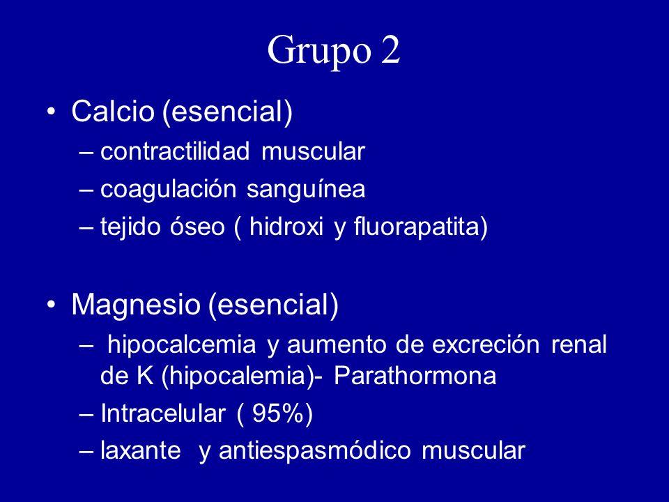 Grupo 2 Calcio (esencial) –contractilidad muscular –coagulación sanguínea –tejido óseo ( hidroxi y fluorapatita) Magnesio (esencial) – hipocalcemia y aumento de excreción renal de K (hipocalemia)- Parathormona –Intracelular ( 95%) –laxante y antiespasmódico muscular