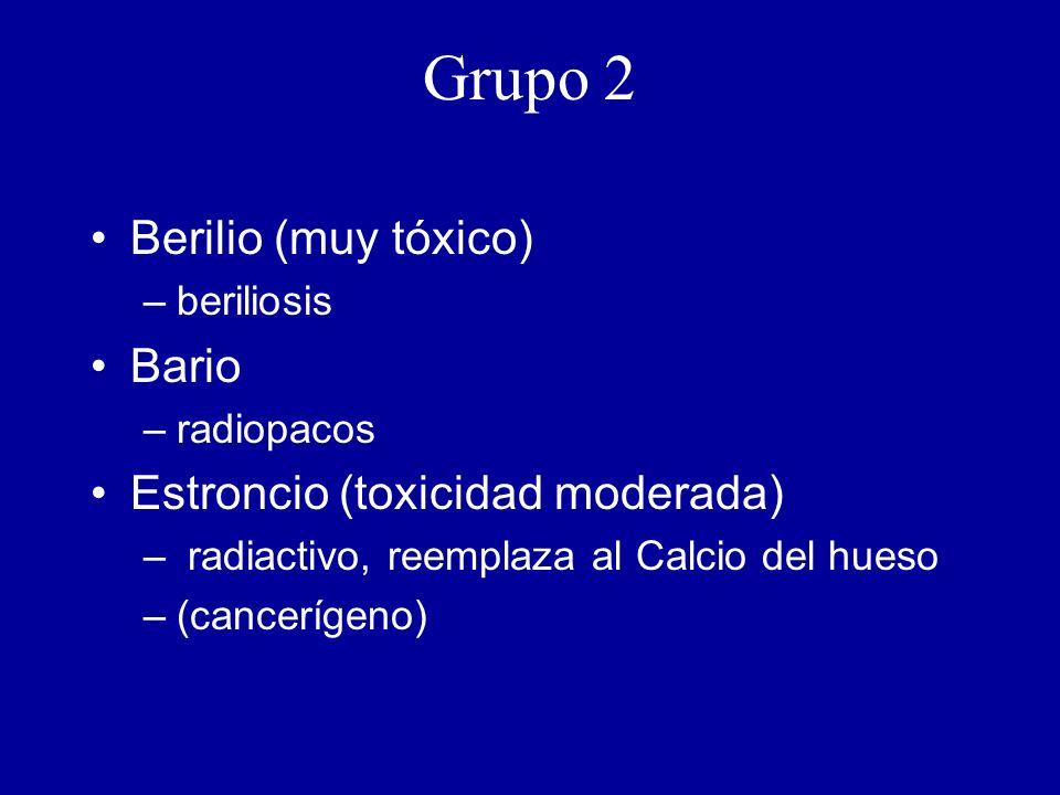 Grupo 2 Berilio (muy tóxico) –beriliosis Bario –radiopacos Estroncio (toxicidad moderada) – radiactivo, reemplaza al Calcio del hueso –(cancerígeno)
