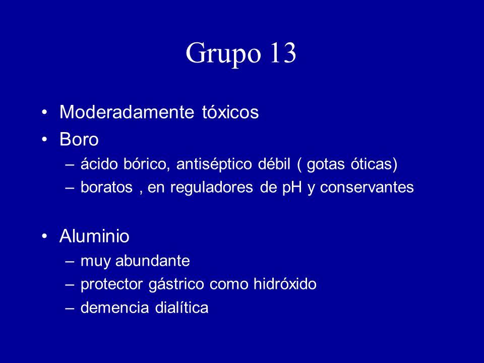 Grupo 13 Moderadamente tóxicos Boro –ácido bórico, antiséptico débil ( gotas óticas) –boratos, en reguladores de pH y conservantes Aluminio –muy abundante –protector gástrico como hidróxido –demencia dialítica