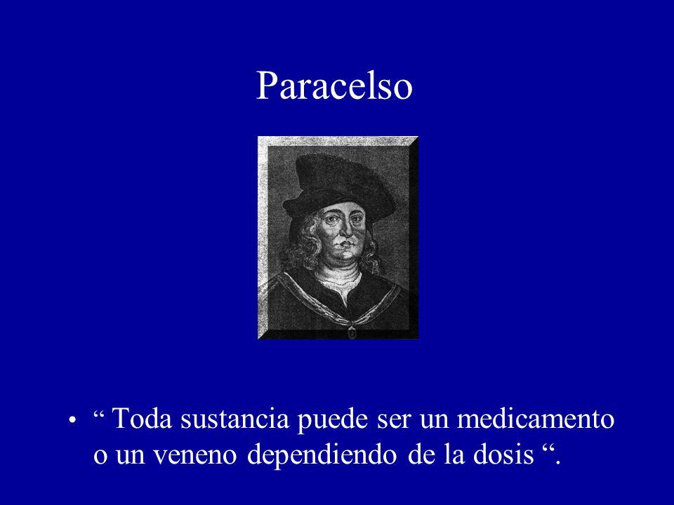 Paracelso Toda sustancia puede ser un medicamento o un veneno dependiendo de la dosis.