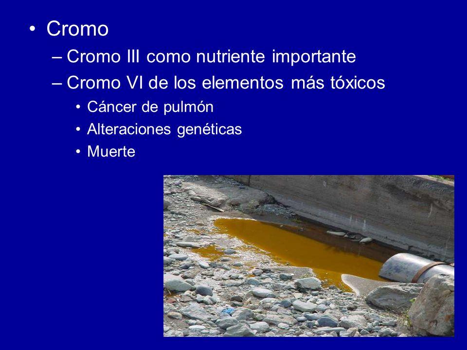 Cromo –Cromo III como nutriente importante –Cromo VI de los elementos más tóxicos Cáncer de pulmón Alteraciones genéticas Muerte