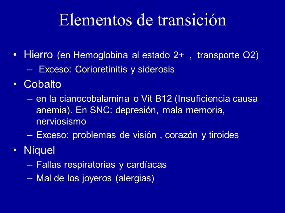 Elementos de transición Hierro (en Hemoglobina al estado 2+, transporte O2) – Exceso: Corioretinitis y siderosis Cobalto –en la cianocobalamina o Vit B12 (Insuficiencia causa anemia).