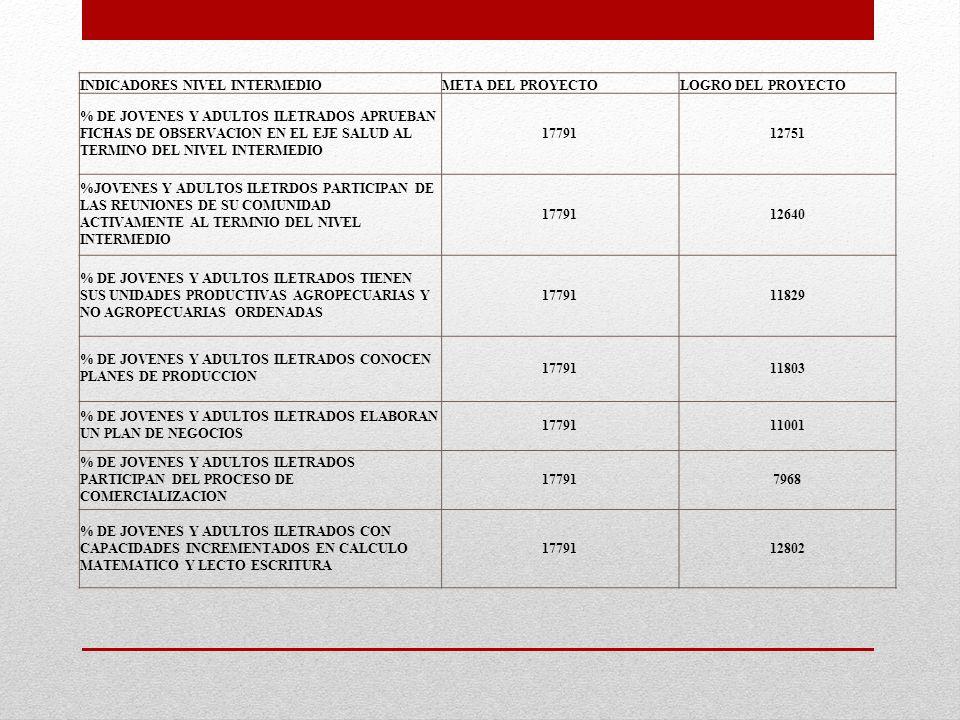 INDICADORES NIVEL INTERMEDIOMETA DEL PROYECTOLOGRO DEL PROYECTO % DE JOVENES Y ADULTOS ILETRADOS APRUEBAN FICHAS DE OBSERVACION EN EL EJE SALUD AL TER