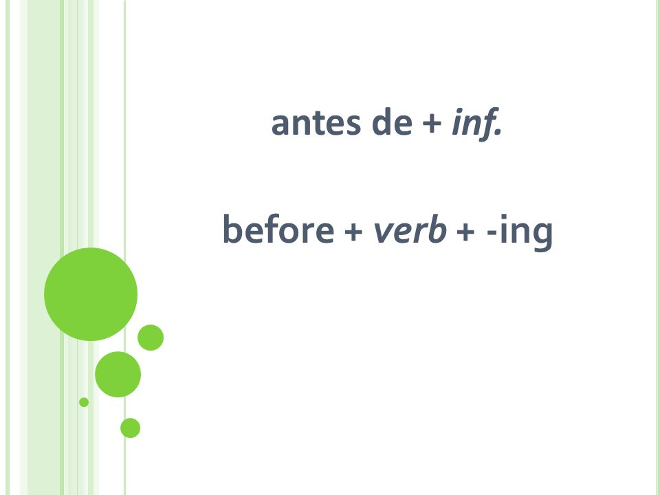 antes de + inf. before + verb + -ing