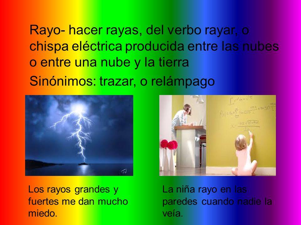 Rayo- hacer rayas, del verbo rayar, o chispa eléctrica producida entre las nubes o entre una nube y la tierra Sinónimos: trazar, o relámpago Los rayos