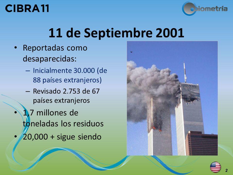 11 de Septiembre 2001 Reportadas como desaparecidas: – Inicialmente 30.000 (de 88 países extranjeros) – Revisado 2.753 de 67 países extranjeros 1,7 mi