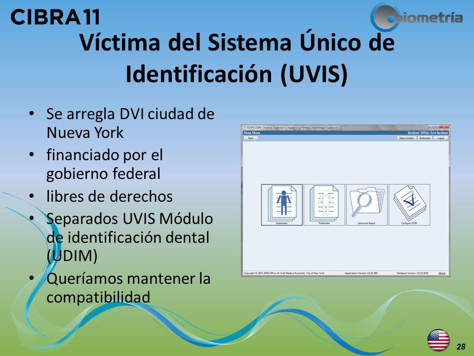 Víctima del Sistema Único de Identificación (UVIS) Se arregla DVI ciudad de Nueva York financiado por el gobierno federal libres de derechos Separados