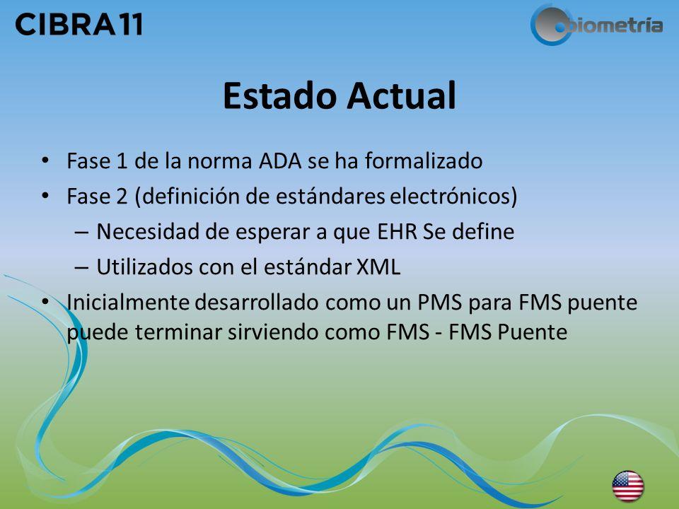 Estado Actual Fase 1 de la norma ADA se ha formalizado Fase 2 (definición de estándares electrónicos) – Necesidad de esperar a que EHR Se define – Uti