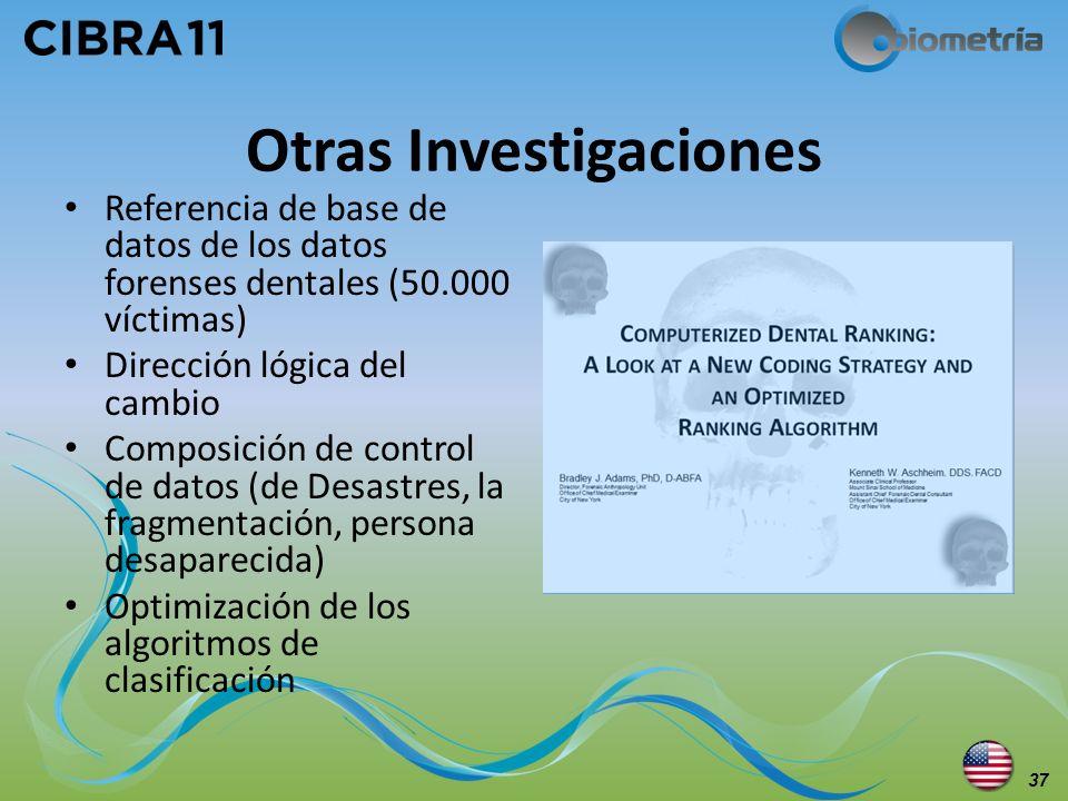 Otras Investigaciones Referencia de base de datos de los datos forenses dentales (50.000 víctimas) Dirección lógica del cambio Composición de control
