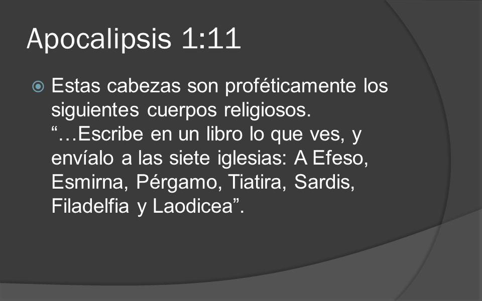 Apocalipsis 1:11 Estas cabezas son proféticamente los siguientes cuerpos religiosos. …Escribe en un libro lo que ves, y envíalo a las siete iglesias: