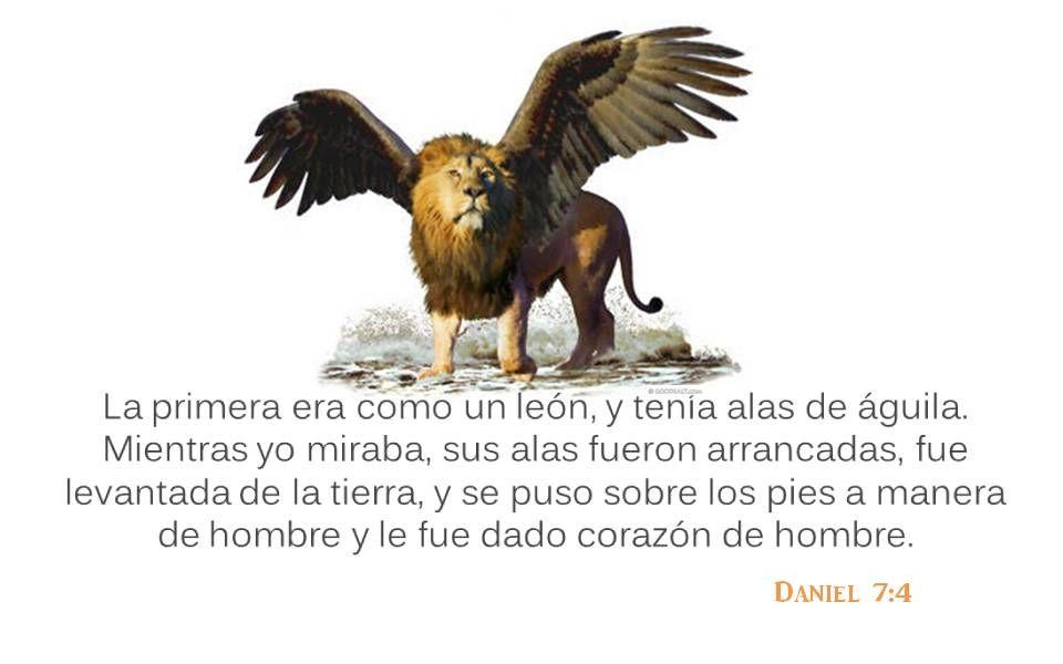 Daniel 7:4 La primera era como un león, y tenía alas de águila. Mientras yo miraba, sus alas fueron arrancadas, fue levantada de la tierra, y se puso