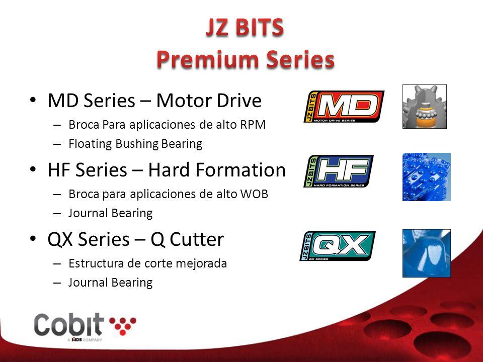 MD Series – Motor Drive – Broca Para aplicaciones de alto RPM – Floating Bushing Bearing HF Series – Hard Formation – Broca para aplicaciones de alto WOB – Journal Bearing QX Series – Q Cutter – Estructura de corte mejorada – Journal Bearing