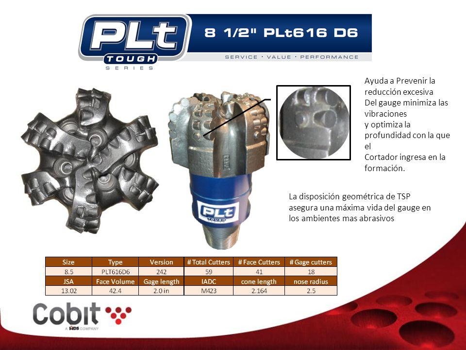 Ayuda a Prevenir la reducción excesiva Del gauge minimiza las vibraciones y optimiza la profundidad con la que el Cortador ingresa en la formación.