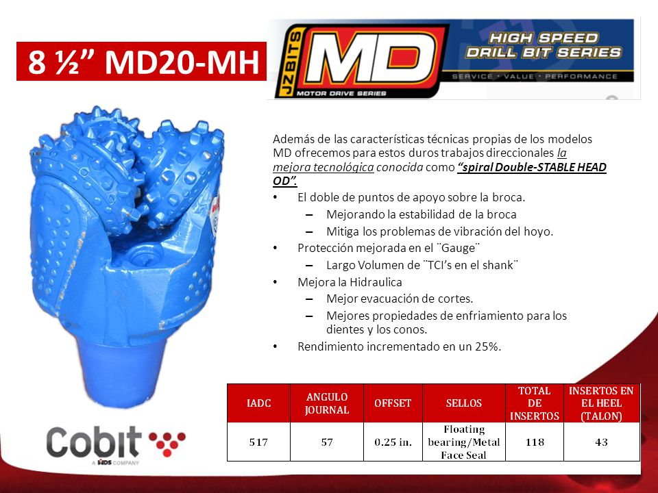 8 ½ MD20-MH Además de las características técnicas propias de los modelos MD ofrecemos para estos duros trabajos direccionales la mejora tecnológica conocida como spiral Double-STABLE HEAD OD.