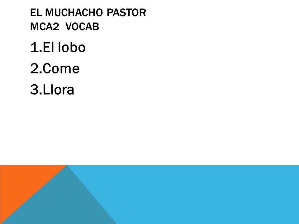 EL MUCHACHO PASTOR MCA2 VOCAB 1.El lobo 2.Come 3.Llora