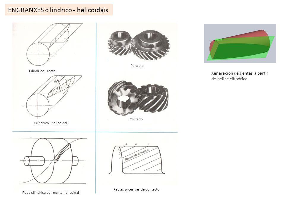 ENGRANXES cilíndrico - helicoidais Roda cilíndrica con dente helicoidal Rectas sucesivas de contacto Paralelo Cruzado Xeneración de dentes a partir de