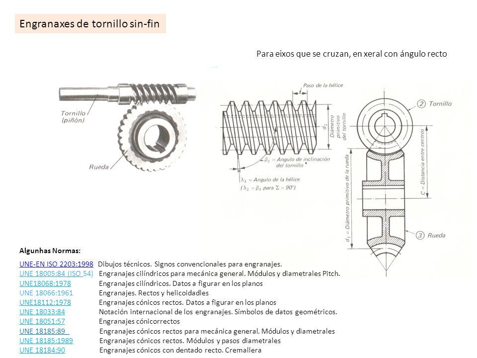 Engranaxes de tornillo sin-fin Para eixos que se cruzan, en xeral con ángulo recto Algunhas Normas: UNE-EN ISO 2203:1998UNE-EN ISO 2203:1998 Dibujos t