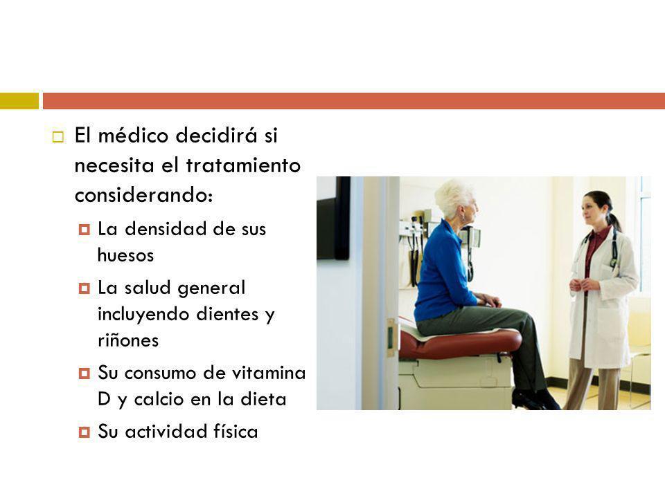 El médico decidirá si necesita el tratamiento considerando: La densidad de sus huesos La salud general incluyendo dientes y riñones Su consumo de vita