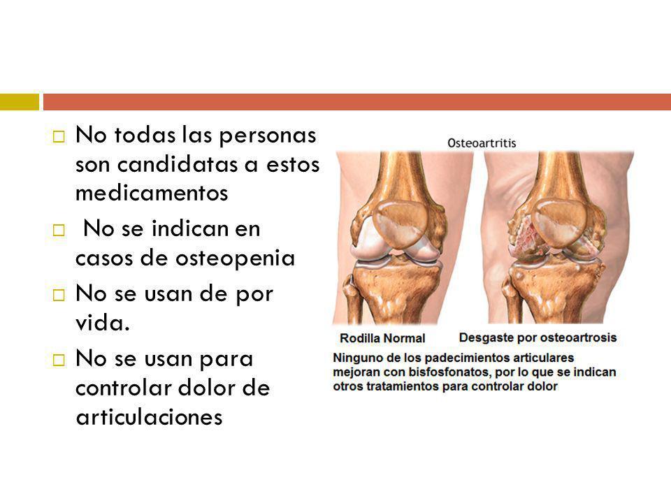 No todas las personas son candidatas a estos medicamentos No se indican en casos de osteopenia No se usan de por vida. No se usan para controlar dolor