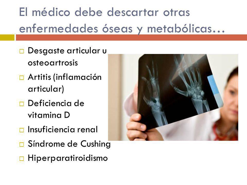 El médico debe descartar otras enfermedades óseas y metabólicas… Desgaste articular u osteoartrosis Artitis (inflamación articular) Deficiencia de vit