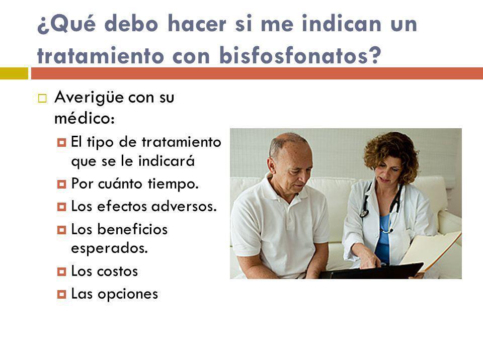 ¿Qué debo hacer si me indican un tratamiento con bisfosfonatos? Averigüe con su médico: El tipo de tratamiento que se le indicará Por cuánto tiempo. L