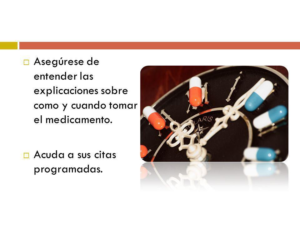 Asegúrese de entender las explicaciones sobre como y cuando tomar el medicamento. Acuda a sus citas programadas.