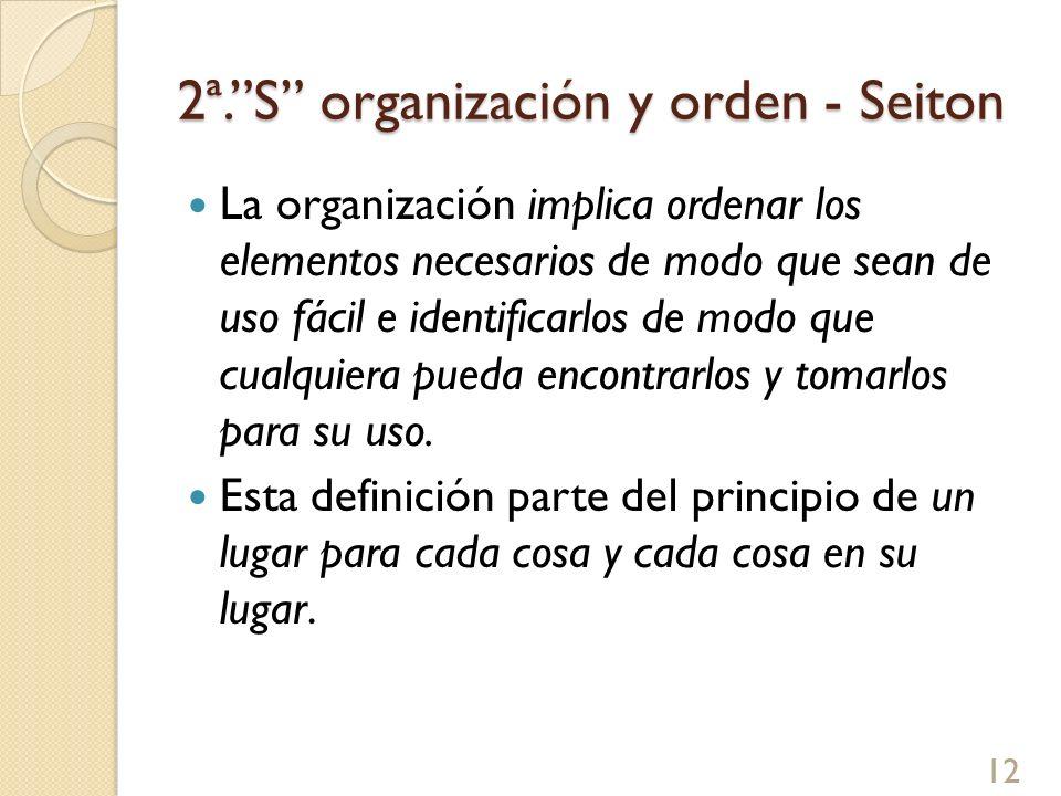2ª.S organización y orden - Seiton La organización implica ordenar los elementos necesarios de modo que sean de uso fácil e identificarlos de modo que