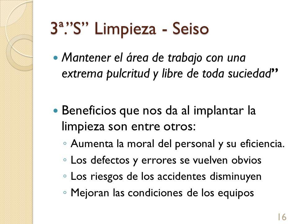 3ª.S Limpieza - Seiso Exige realizar un trabajo creativo de identificación de las fuentes de suciedad y contaminación para tomar las acciones de raíz 17